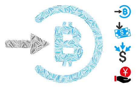 Linear collage Bitcoin income icon united from narrow elements in variable sizes and color hues. Linear items are grouped into abstract vector collage Bitcoin income icon. Bonus pictograms are added.