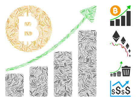 Hatch mosaic Bitcoin growing trend icon united from straight elements in different sizes and color hues. Irregular hatch parts are united into abstract vector mosaic Bitcoin growing trend icon.