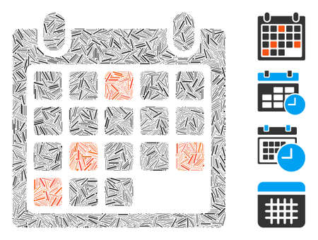Hatch mosaic calendar appointment icon united from narrow items in different sizes and color hues. Irregular hatch parts are grouped into abstract vector mosaic calendar appointment icon.