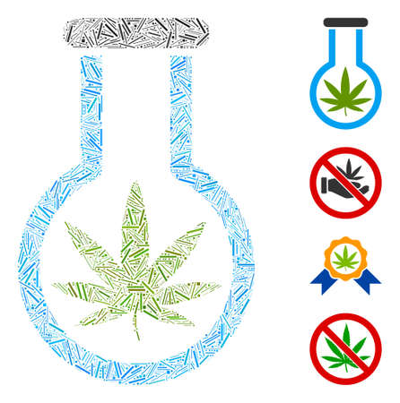 Hatch mosaic cannabis flask icon united from narrow elements in random sizes and color hues. Irregular hatch elements are united into abstract vector composition cannabis flask icon.