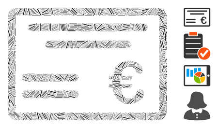 Hatch collage Euro cheque icon composed of thin elements in different sizes and color hues. Irregular hatch parts are composed into abstract vector collage Euro cheque icon.