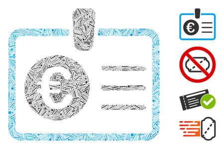 Line collage euro access card icon constructed from thin elements in different sizes and color hues. Linear elements are combined into abstract vector collage euro access card icon. Ilustrace