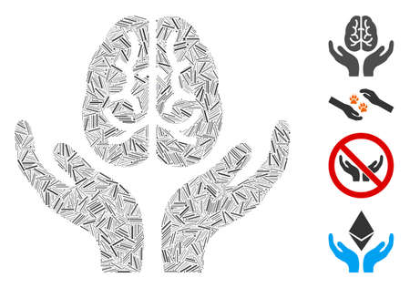 Linear collage brain care hands icon organized from thin elements in random sizes and color hues. Linear items are grouped into abstract vector collage brain care hands icon.