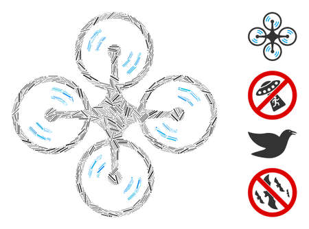 Hatch mosaic flying quadcopter icon united from narrow items in various sizes and color hues. Line items are united into abstract vector collage flying quadcopter icon. Bonus icons are added. Illustration