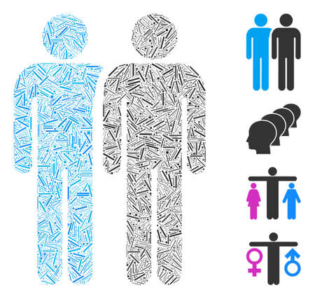 Linear collage gay couple icon designed from thin items in random sizes and color hues. Linear items are grouped into abstract vector illustration gay couple icon. Bonus icons are placed.