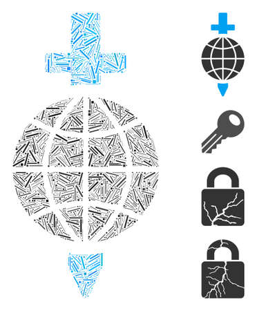 Line mosaic global safety icon designed from thin items in variable sizes and color hues. Linear parts are united into abstract vector mosaic global safety icon. Bonus icons are placed.
