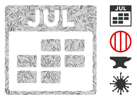 Linear collage July calendar grid icon united from thin items in different sizes and color hues. Linear items are united into abstract vector mosaic July calendar grid icon. Bonus icons are added.