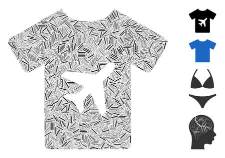 Hatch mosaic man T-shirt icon organized from narrow items in various sizes and color hues. Linear items are united into abstract vector mosaic man T-shirt icon. Bonus icons are added. Illustration