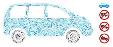 Line mosaic minivan icon united from thin items in variable sizes and color hues. Lines items are united into abstract vector illustration minivan icon. Bonus pictograms are placed.