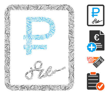 Linear collage rouble contract icon composed of straight items in different sizes and color hues. Linear items are united into abstract vector collage rouble contract icon. Bonus icons are placed.
