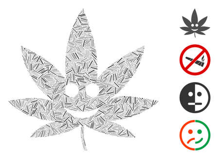 Line collage happy cannabis icon united from thin elements in variable sizes and color hues. Line elements are combined into abstract vector composition happy cannabis icon. Bonus icons are added.