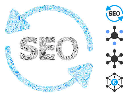 Hatch collage seo process icon constructed from narrow items in various sizes and color hues. Irregular hatch items are combined into abstract vector collage seo process icon.