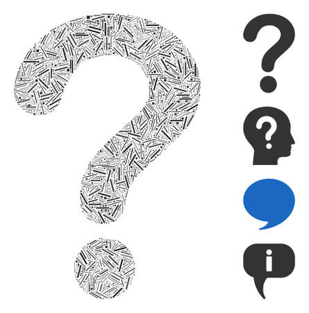 Line collage question icon united from narrow elements in various sizes and color hues. Line elements are combined into abstract vector composition question icon. Bonus pictograms are added.
