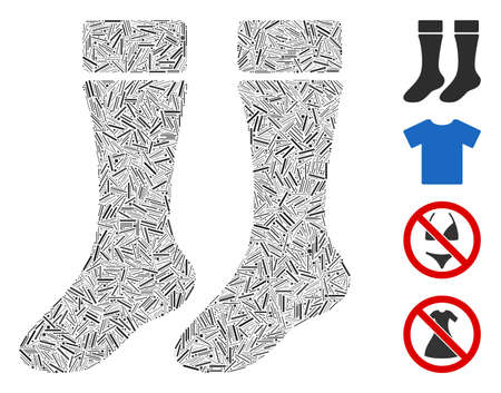 Hatch mosaic socks icon constructed from straight elements in variable sizes and color hues. Irregular hatch items are composed into abstract vector mosaic socks icon. Bonus icons are added.