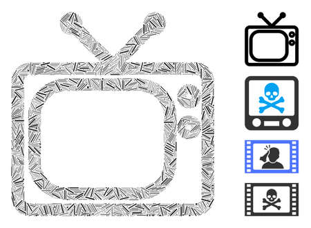 Line mosaic tv icon organized from thin elements in various sizes and color hues. Line elements are united into abstract vector illustration tv icon. Bonus icons are added. Иллюстрация