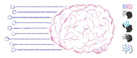 Dash Mosaic based on brain connections icon. Mosaic vector brain connections is composed with randomized dash dots. Bonus icons are added. Illustration