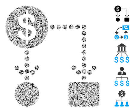 Line Mosaic based on cashflow icon. Mosaic vector cashflow is composed with randomized line dots. Bonus icons are added.