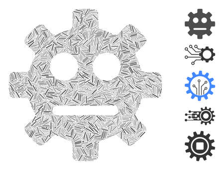 Hatch Mosaic based on gear pity smiley icon. Mosaic vector gear pity smiley is composed with randomized hatch dots. Bonus icons are added.