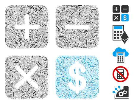 Dash Mosaic based on financial calculator icon. Mosaic vector financial calculator is designed with random hatch items. Bonus icons are added.