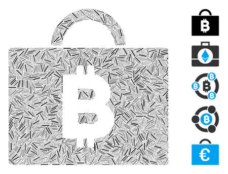 Line Mosaic based on Bitcoin accounting case icon. Mosaic vector Bitcoin accounting case is composed with scattered line items. Bonus icons are added.