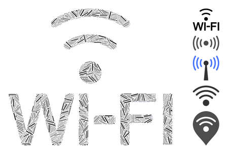 Line Mosaic based on Wi-Fi icon. Mosaic vector Wi-Fi is composed with scattered line items. Bonus icons are added.