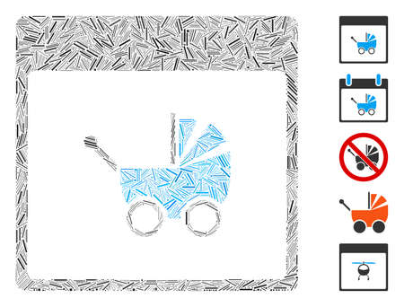 Line Mosaic based on baby carriage calendar page icon. Mosaic vector baby carriage calendar page is designed with random line dots. Bonus icons are added.