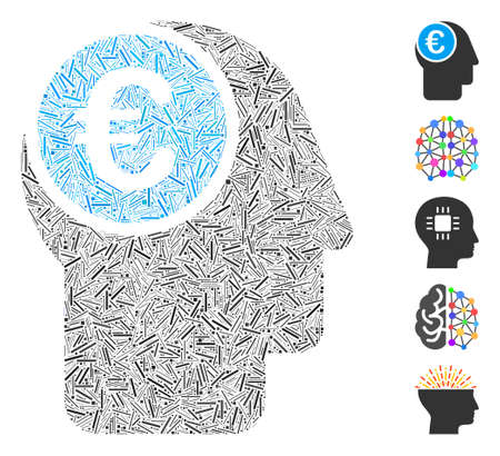 Hatch Mosaic based on euro mind icon. Mosaic vector euro mind is designed with random hatch items. Bonus icons are added. Vetores