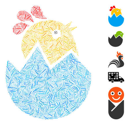 Hatch Mosaic based on hatch chick icon. Mosaic vector hatch chick is designed with randomized hatch spots. Bonus icons are added.  イラスト・ベクター素材