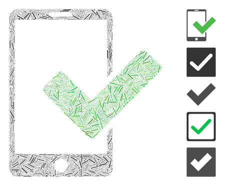 Line Mosaic based on valid smartphone icon. Mosaic vector valid smartphone is composed with randomized hatch items. Bonus icons are added.