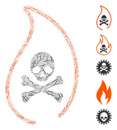 Line Mosaic based on mortal flame icon. Mosaic vector mortal flame is formed with random line dots. Bonus icons are added.