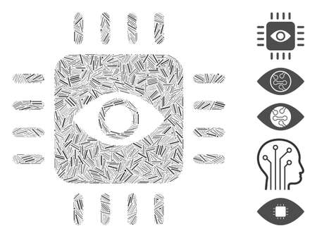 Line Mosaic based on bionic eye processor icon. Mosaic vector bionic eye processor is designed with randomized line spots. Bonus icons are added.