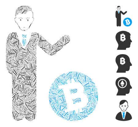 Line Mosaic based on Bitcoin businessman icon. Mosaic vector Bitcoin businessman is created with randomized line dots. Bonus icons are added.