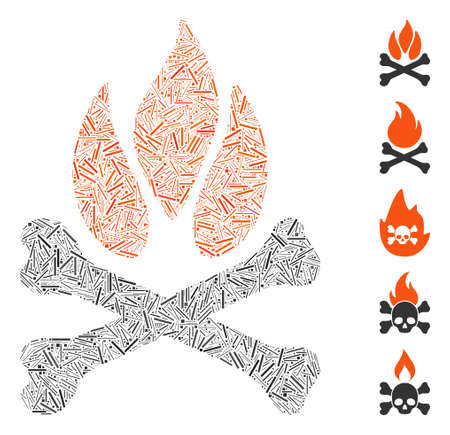 Line Mosaic based on bones campfire icon. Mosaic vector bones campfire is composed with scattered line dots. Bonus icons are added.