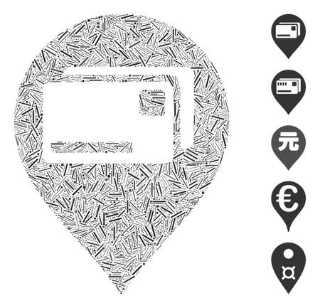 Line Mosaic based on bank cards pointer icon. Mosaic vector bank cards pointer is composed with scattered line items. Bonus icons are added. Vetores