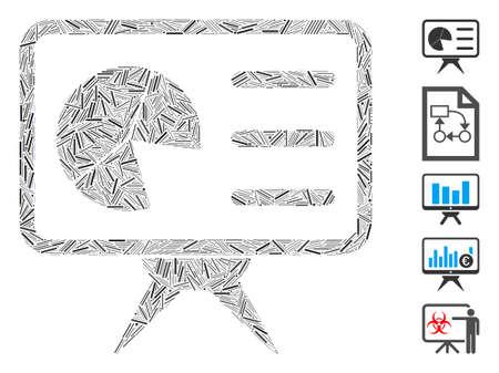 Line Mosaic based on chart presentation board icon. Mosaic vector chart presentation board is created with random line spots. Bonus icons are added.