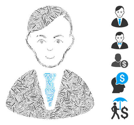 Hatch Mosaic based on businessman icon. Mosaic vector businessman is designed with random hatch spots. Bonus icons are added.
