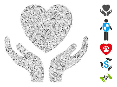 Line Mosaic based on love heart care hands icon. Mosaic vector love heart care hands is designed with scattered line elements. Bonus icons are added.