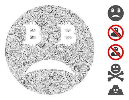 Line Mosaic based on sad Bitcoin smiley icon. Mosaic vector sad Bitcoin smiley is created with scattered line dots. Bonus icons are added.