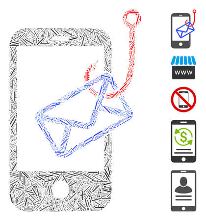 Hatch Mosaic based on smartphone mail phishing icon. Mosaic vector smartphone mail phishing is composed with randomized hatch dots. Bonus icons are added.