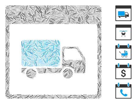 Line Mosaic based on shipment truck calendar page icon. Mosaic vector shipment truck calendar page is designed with random line elements. Bonus icons are added. Illustration