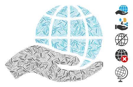 Line Mosaic based on world class offer hand icon. Mosaic vector world class offer hand is created with randomized line elements. Bonus icons are added. Illusztráció