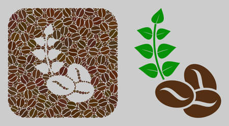 Mosaic organic coffee beans with coffee beans and basic icon. Stencil mosaic organic coffee beans is created of coffee beans. Abstract vector illustrations elements for cafe illustrations.