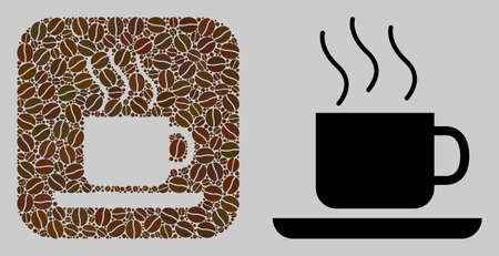 Mosaic coffee-break of coffee beans and basic icon. Subtraction mosaic coffee-break is formed of cocoa beans. Abstract vector illustrations elements for cafe illustrations. Stock Illustratie
