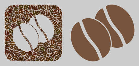 Mosaic coffee beans from coffee beans and basic icon. Stencil mosaic coffee beans is designed with coffee beans. Abstract vector design elements for cafeteria advertisement.