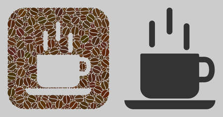 Mosaic coffee mug from coffee beans and basic icon. Subtraction mosaic coffee mug is formed from cocoa seeds. Abstract vector illustrations elements for coffeeshop illustrations.