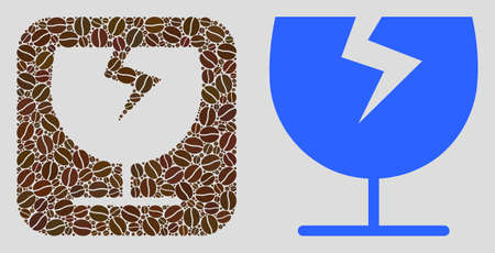 Mosaic broken glass cup of coffee beans and basic icon. Negative space mosaic broken glass cup is composed of coffee grain. Flat vector design elements for cafeteria illustrations.