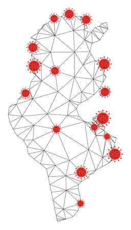 Polygonal mesh Tunisia map with coronavirus centers. Abstract network connected lines and flu viruses form Tunisia map. Vector wireframe flat polygonal network in black and red colors. Ilustracja