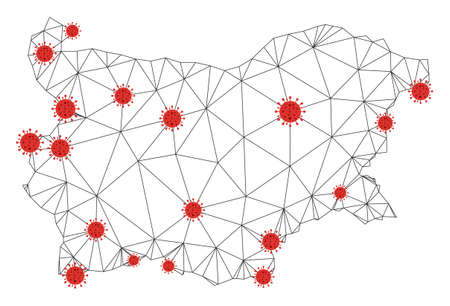 Polygonal mesh Bulgaria map with coronavirus centers. Abstract network connected lines and covid viruses form Bulgaria map. Vector wireframe 2D polygonal network in black and red colors.