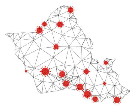 Polygonal mesh Oahu Island map with coronavirus centers. Abstract network connected lines and flu viruses form Oahu Island map. Vector wire frame flat polygonal network in black and red colors. 矢量图像