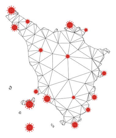 Polygonal mesh Tuscany region map with coronavirus centers. Abstract network connected lines and covid- 2019 viruses form Tuscany region map. Illusztráció